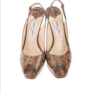 Jimmy choo python peep toe heels